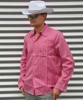 Feest roze cowboy overhemd met ruitjes