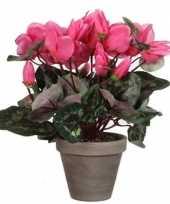 Feest roze cyclaam kunstplant 30 cm in grijze pot