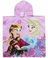 Feest roze frozen elsa en anna badcape met capuchon voor meisjes