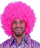 Feest roze krulletjes pruik neon 10108555