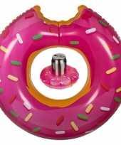 Feest roze opblaasbare donut zwemband en drankhouder