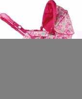 Feest roze poppen wandelwagen met bloemen