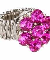 Feest roze steentjes chunk ring voor volwassenen