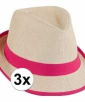 Feest roze toppers strandhoedjes 3 stuks