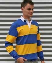 Feest rugbyshirts blauw geel gestreept