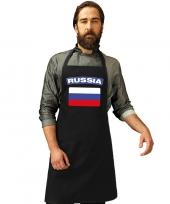 Feest rusland vlag barbecueschort keukenschort zwart volwassenen
