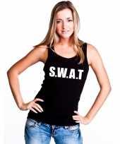 Feest s w a t tekst singlet-shirt tanktop zwart dames