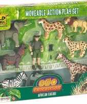 Feest safari set met beweegbare poppetjes
