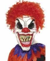 Feest scary clown masker met haren