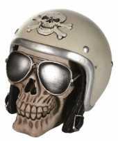 Feest schedel spaarpot met motorhelm