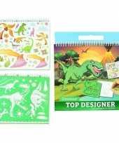 Feest schetsboek dino met stickers en sjablonen