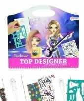 Feest schetsboek rockster kleding ontwerpen met stickers en sjablonen