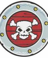 Feest schild met doodshoofd piraten