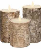 Feest set van 3x stuks bruin berkenhout led kaarsen met bewegende vlam