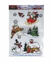 Feest setje met 9 kerstman raam stickers