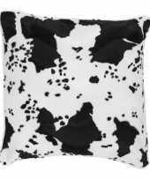 Feest sierkussen fluweel met koeienprint zwart wit 47 x 47 cm