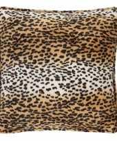 Feest sierkussen fluweel met luipaardprint 47 x 47 cm