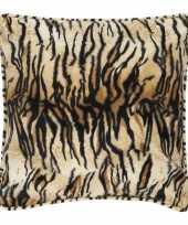 Feest sierkussen fluweel met tijgerprint 47 x 47 cm