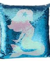 Feest sierkussen zeemeermin blauw 40 x 40 cm met pailletten