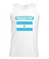 Feest singlet-shirt tanktop argentijnse vlag wit heren