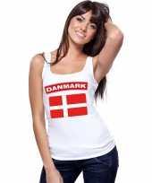 Feest singlet-shirt tanktop deense vlag wit dames