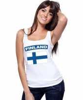 Feest singlet-shirt tanktop finse vlag wit dames