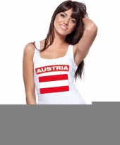 Feest singlet-shirt tanktop oostenrijkse vlag wit dames
