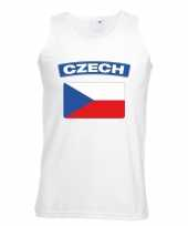 Feest singlet-shirt tanktop tsjechische vlag wit heren