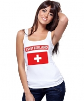Feest singlet-shirt tanktop zwitserse vlag wit dames