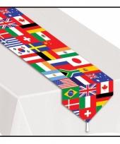 Feest smal tafelkleed met wereld vlaggen
