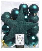 Feest smaragd groen kerstballen pakket met piek 33 stuks