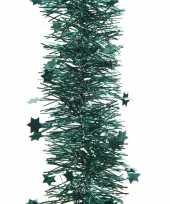 Feest smaragd groene kerstversiering folie slinger met ster 270 cm