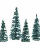Feest smaragd kleine groene kunst kerstboom glitter 15 cm 4 stuks