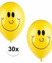 Feest smiley helium balonnen 30 stuks geel