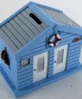 Feest spaarpot strandhuis blauw 13 cm