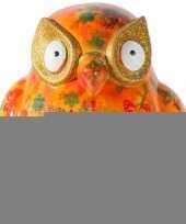 Feest spaarpot uil 15 cm oranje