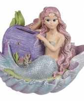 Feest spaarpot zeemeermin met paarse schatkist