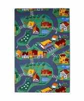 Feest speel tapijt dorp met wegen 100 x 165 cm