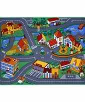 Feest speel tapijt dorp met wegen 95 x 133 cm