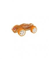 Feest speelgoed autootje racewagen bamboe 8 cm 10077384