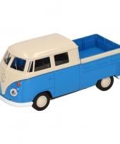 Feest speelgoed blauwe volkswagen t1 pick up auto 1 36