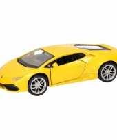 Feest speelgoed gele lamborghini huracan lp610 4 auto 12 cm