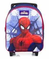Feest spiderman koffer trolley blauw voor jongens