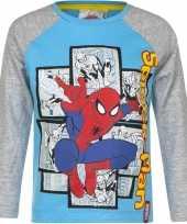 Feest spiderman t-shirt blauw grijs voor jongens