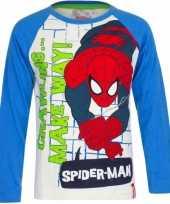 Feest spiderman t-shirt wit met blauw