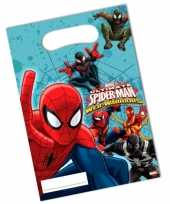 Feest spiderman thema uitdeelzakjes 6 stuks
