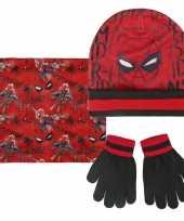 Feest spiderman winterset rood zwart voor jongens