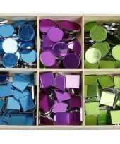 Feest spiegel mozaiek tegels kleuren 15 mm 300 stuks