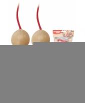 Feest springtouw met houten handvat