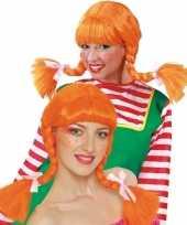 Feest sterk meisje pruik oranje voor dames